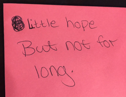 Six Word Memoir - Little hope but not for long.